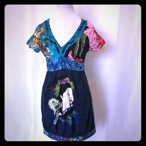 DESIGUAL COLORFUL DRESS - SIZE S - 100% COTTON